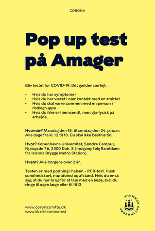 Pop up test på Amager