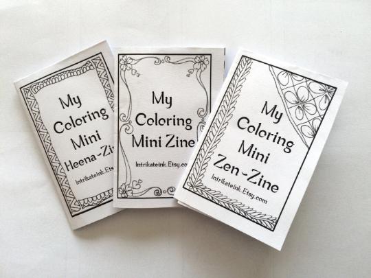 DIY 3 Mini Zine Coloring Books