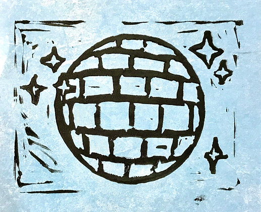 Disco Linocut Print On Blue Marbled Paper
