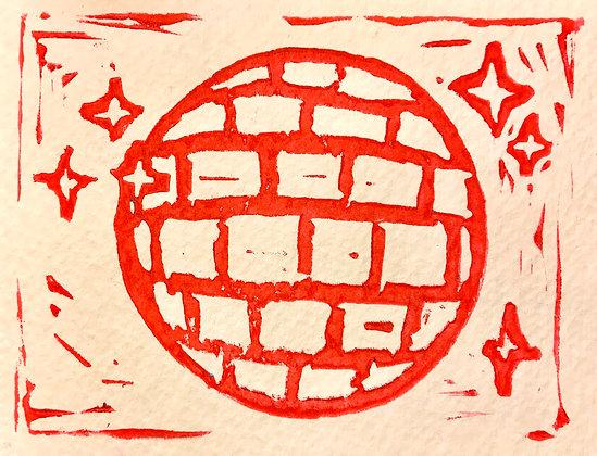 Disco Linocut Print On Textured Paper