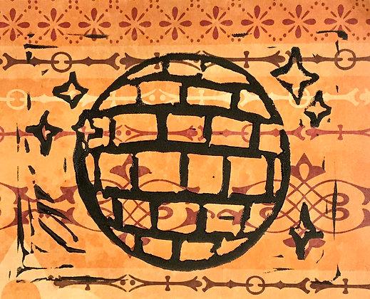 Disco Linocut Print on Orange Pattern