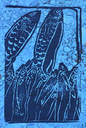 Fish Linocut Prints on Mottled Paper