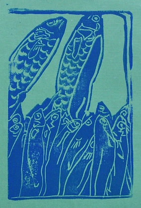 Fish Linocut Prints on Teal Paper