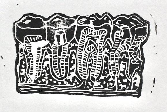 Teeth Print on White Paper