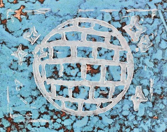 Disco Linocut Print On Mottled Paper