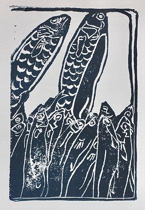 Fish Linocut Prints on Sketch Paper