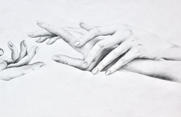 Hand Study with Skeletal Overlay