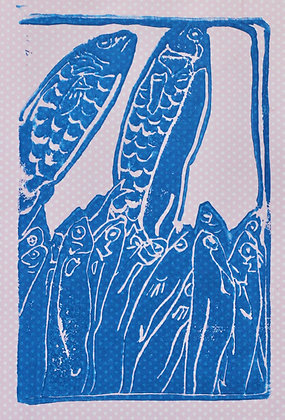 Fish Linocut Prints on Pink Dotted Paper