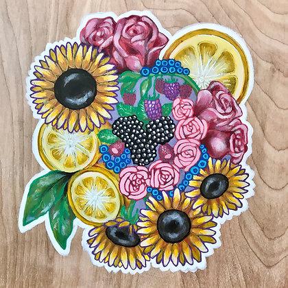 Citrus & Berry Bouquet, Painted Wood Panel