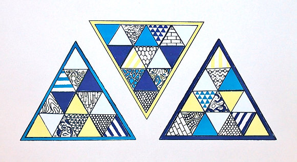 Screenprint Triangles Geometry Blue