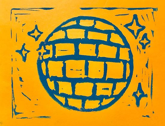 Disco Linocut Print On Bright Orange Paper