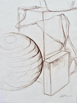 Drawing Still Life Conte Burnt Sienna