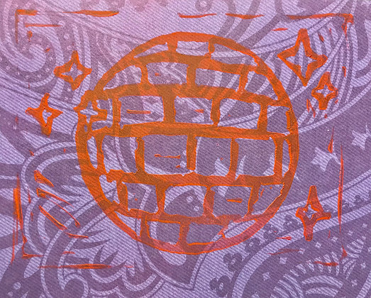 Disco Linocut Print on Purple Pattern