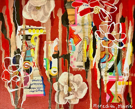 Red Magnolia Collage Painting