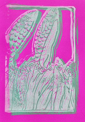 Fish Linocut Prints on Magenta Paper
