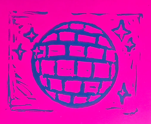 Disco Linocut Print on Magenta