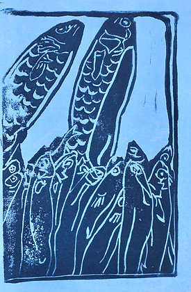 Fish Linocut Prints on Blue Marbled Paper