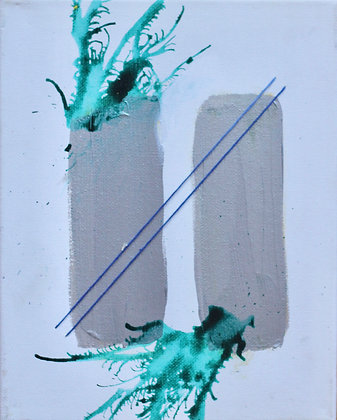 Flash Fear Painting Silver & Teal