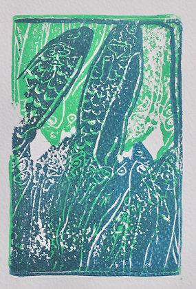 Fish Print on Watercolor Paper