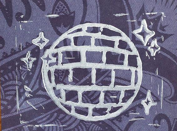 Disco Linocut Print on Purple Pattern
