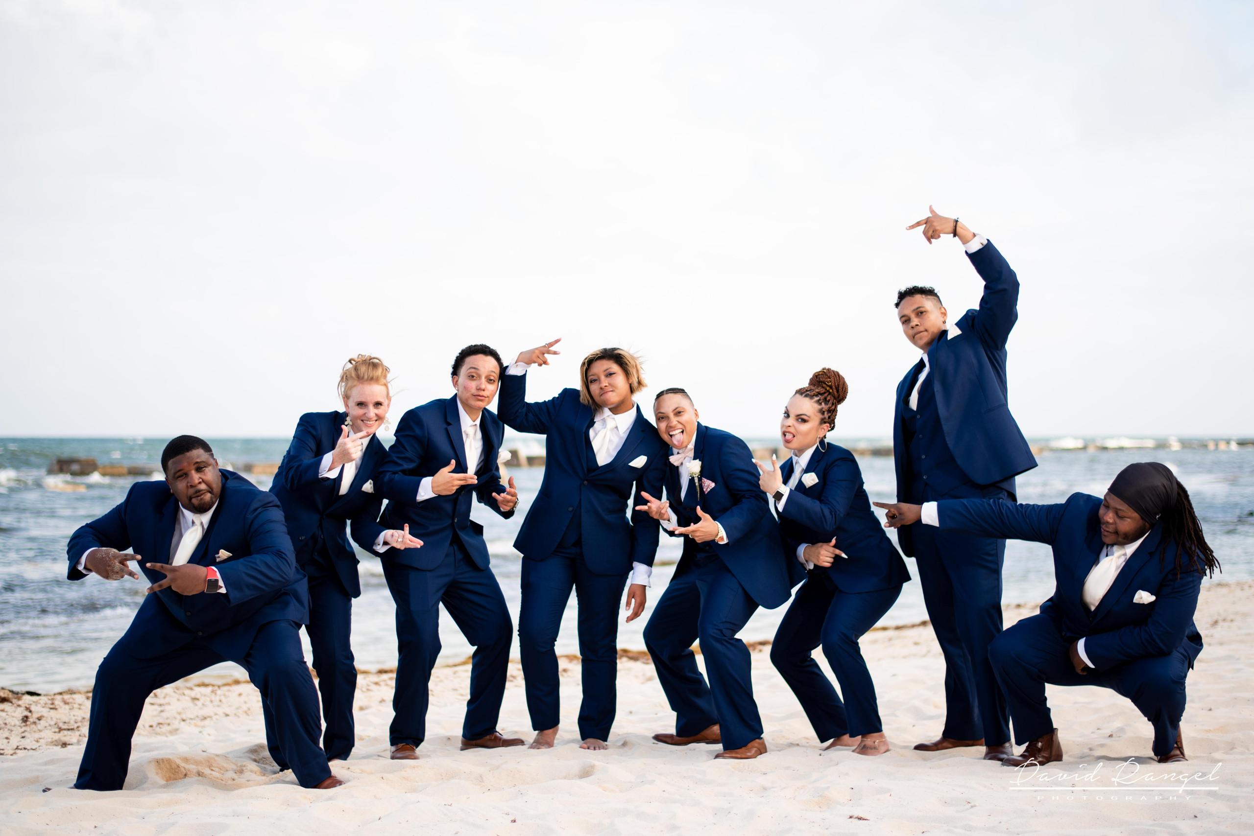 grooms+men+creu+beach