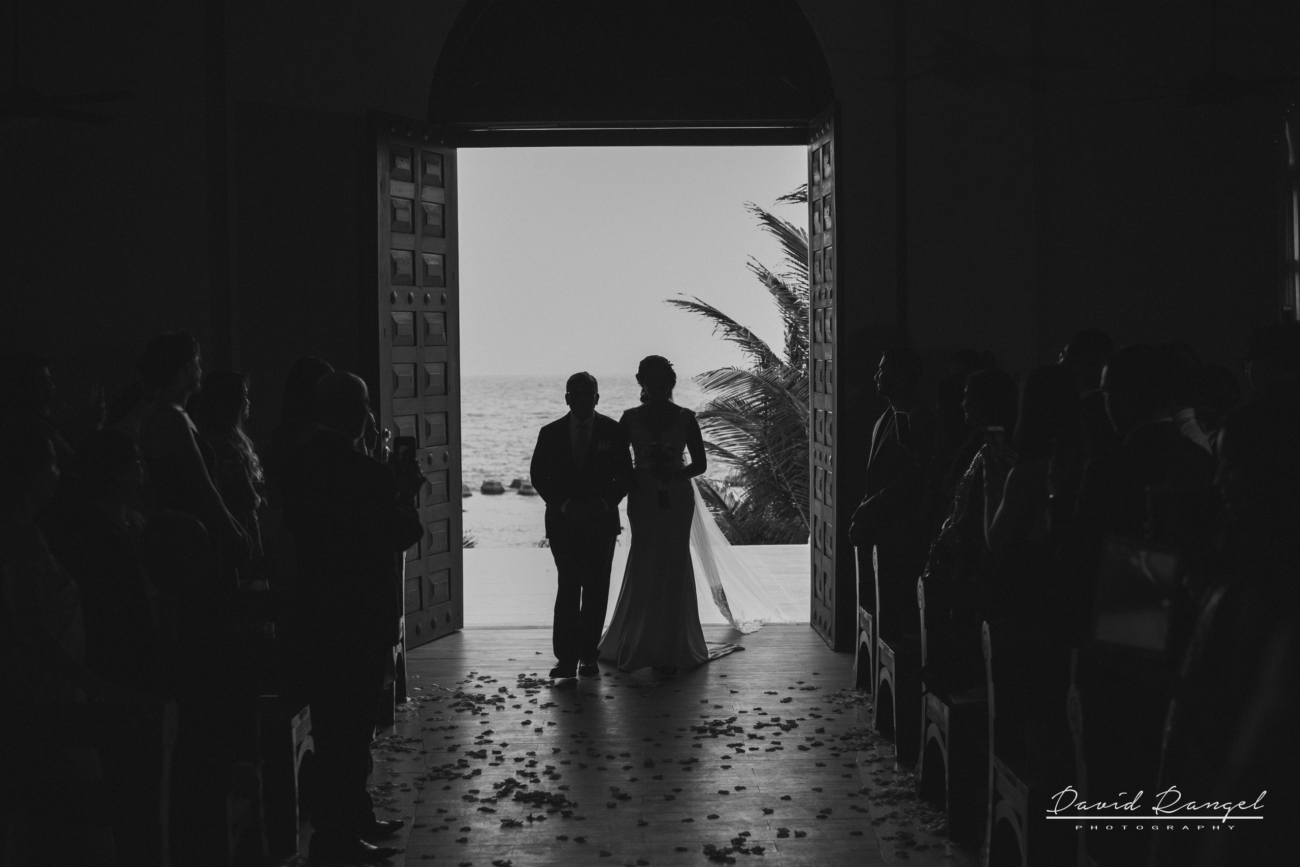 church+aisle+bride+walk+father+ceremony+guest+looking+beach