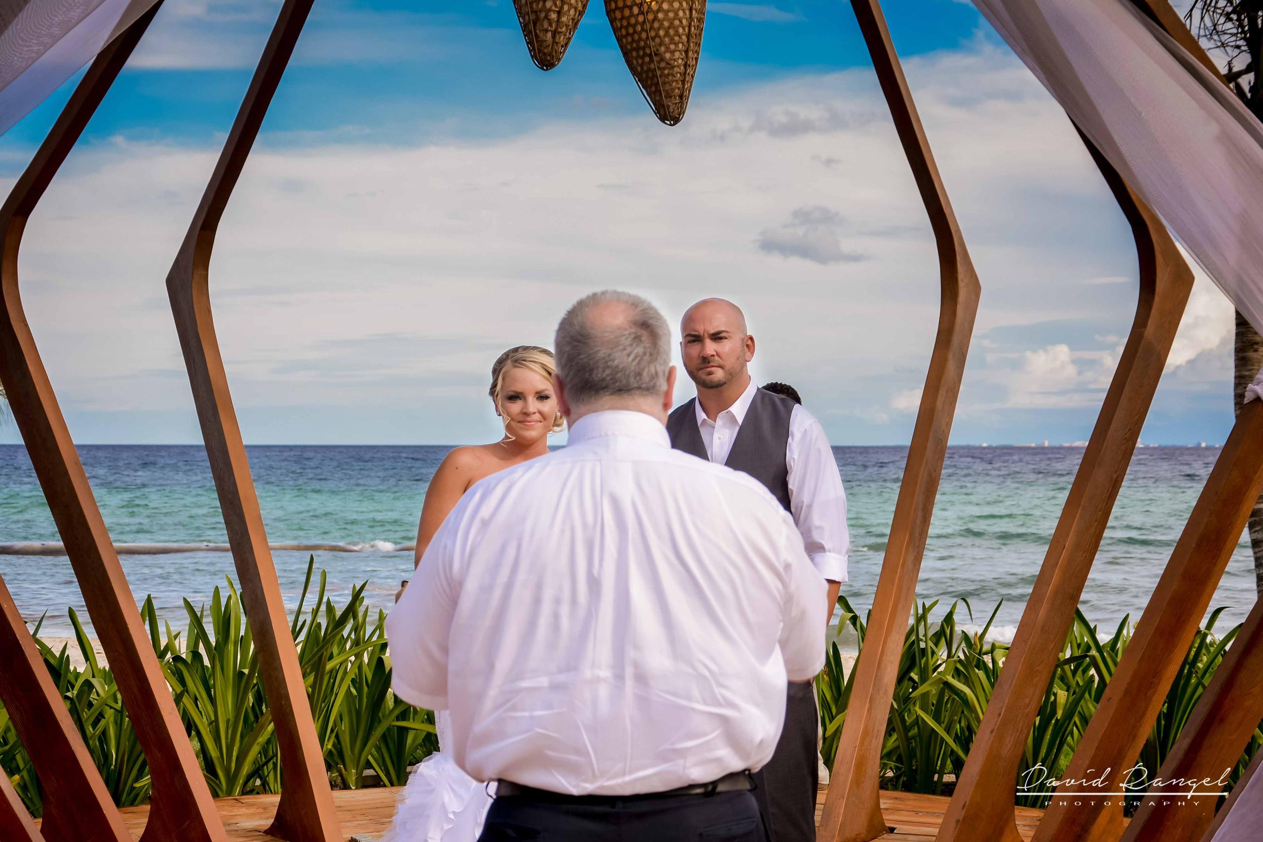bride and groom beach ceremony