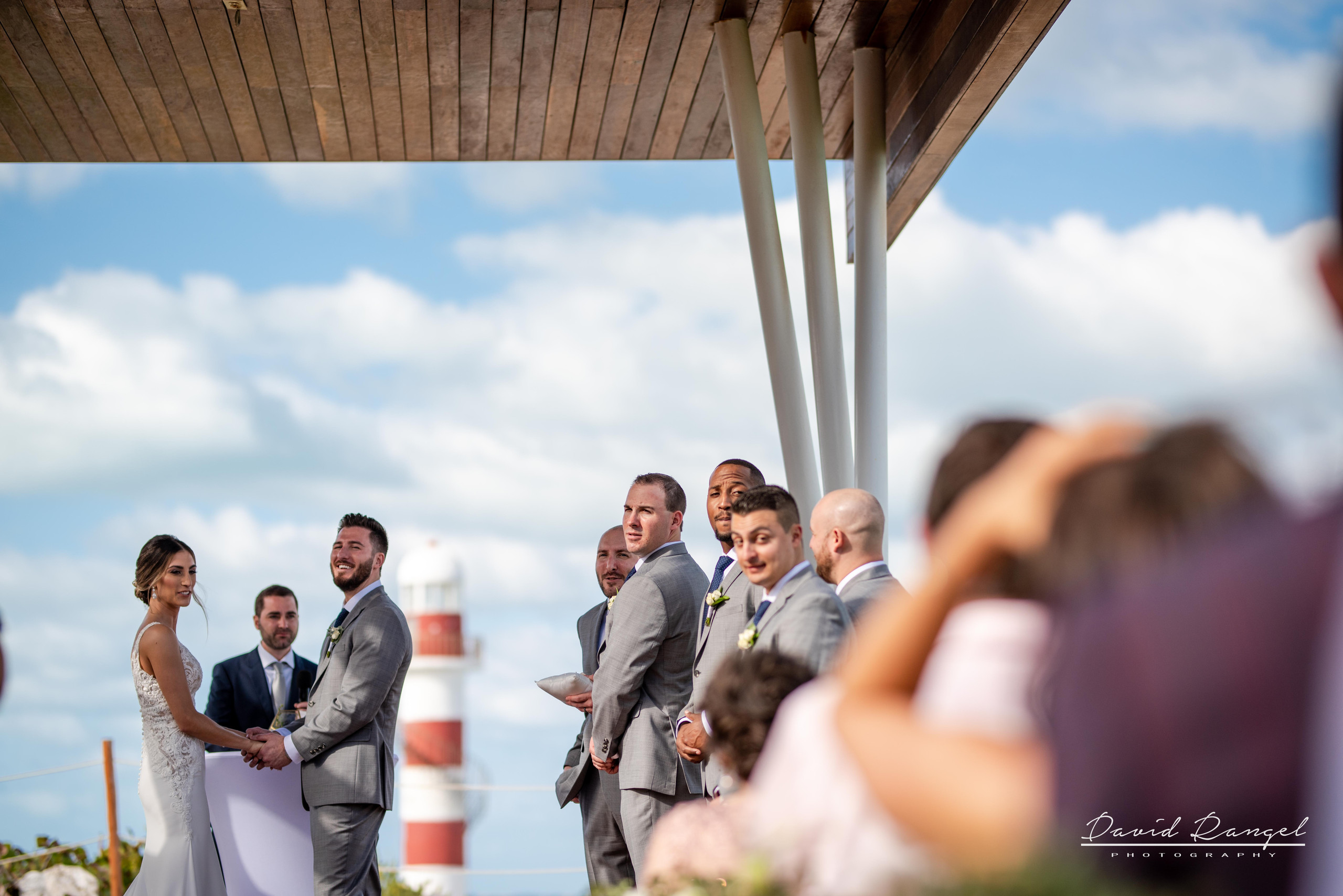 bride+groom+lighthouse+gazebo+wedding+ceremony+photo+minister