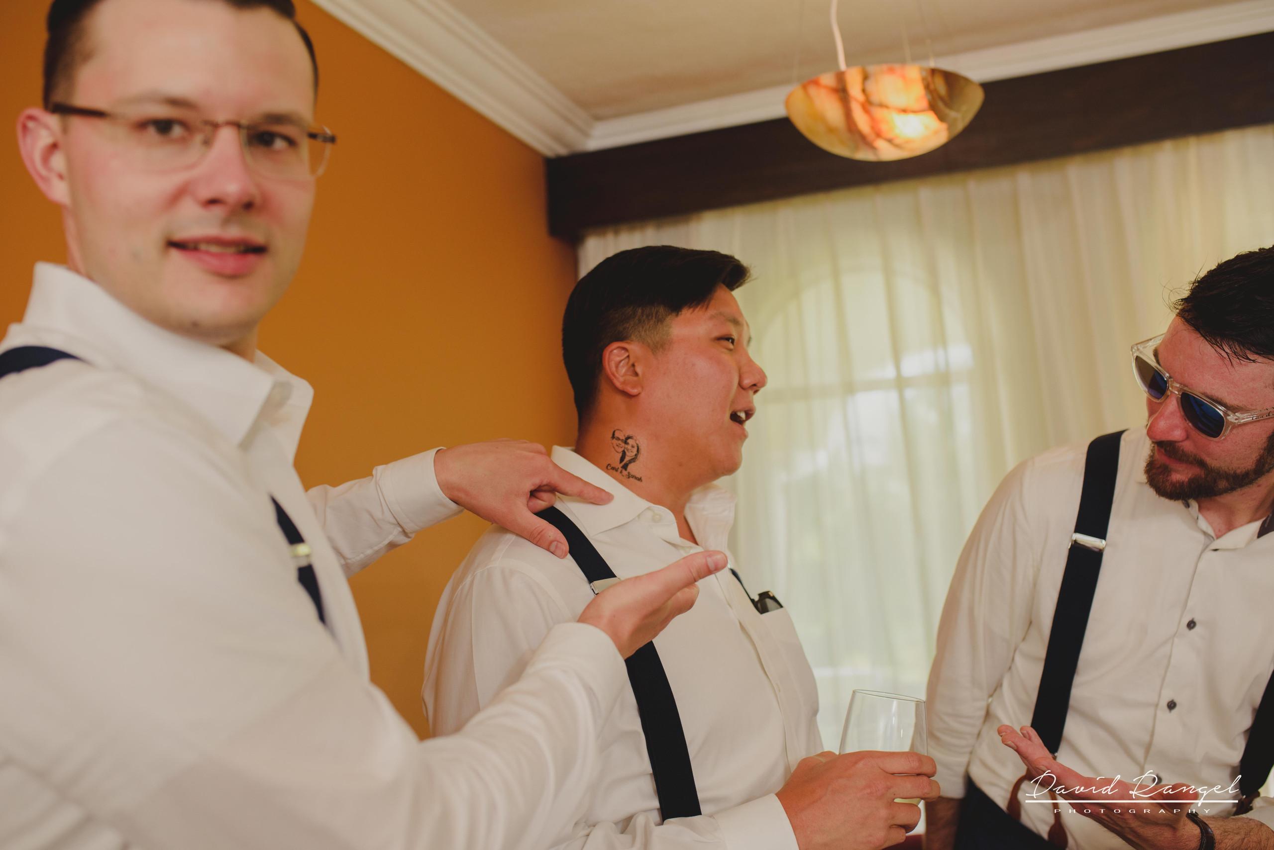 groom+groomsmens+getting+ready+room+photo+suit+crew+tatto