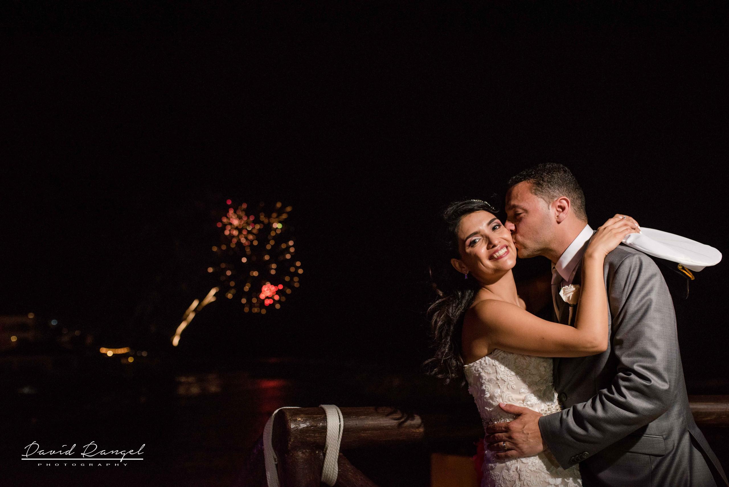 bride+groom+fireworks