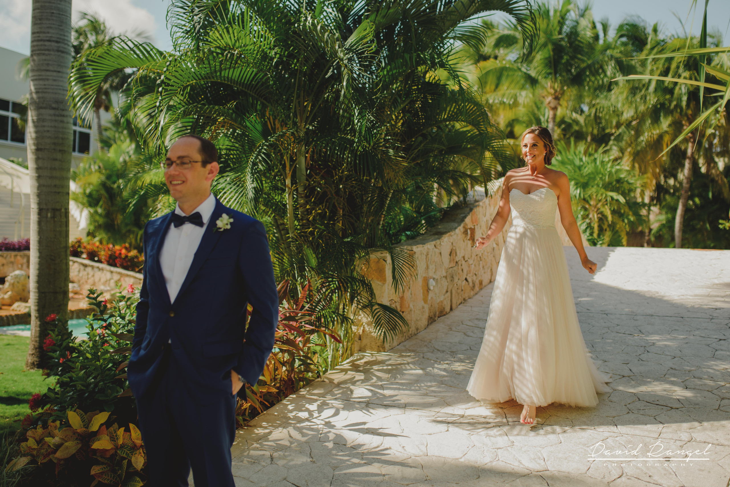 first+look+bride+groom+dress+wedding+photo+garden