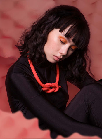 Neck Knot in Coral Red by Sophie Holterman
