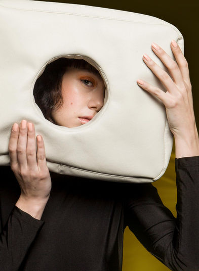 Close-up of Hole Bag in Cloud Grey by Sophie Holterman