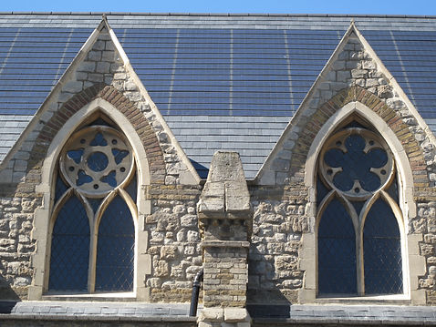 Integrated PV roof tiles on a historic church in London