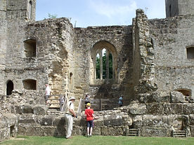 Picturesque internal view of historic stone walls at Bodiam Castle