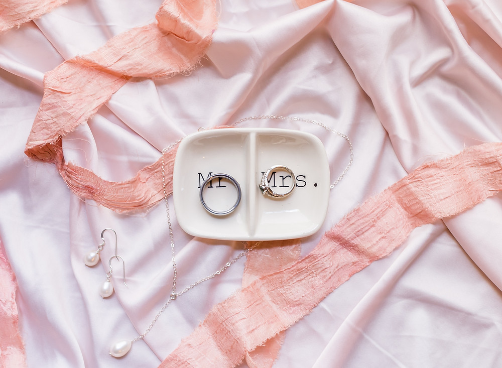 wedding rings flatlay