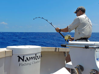 A male angler fishing for Marlin in Vanuatu