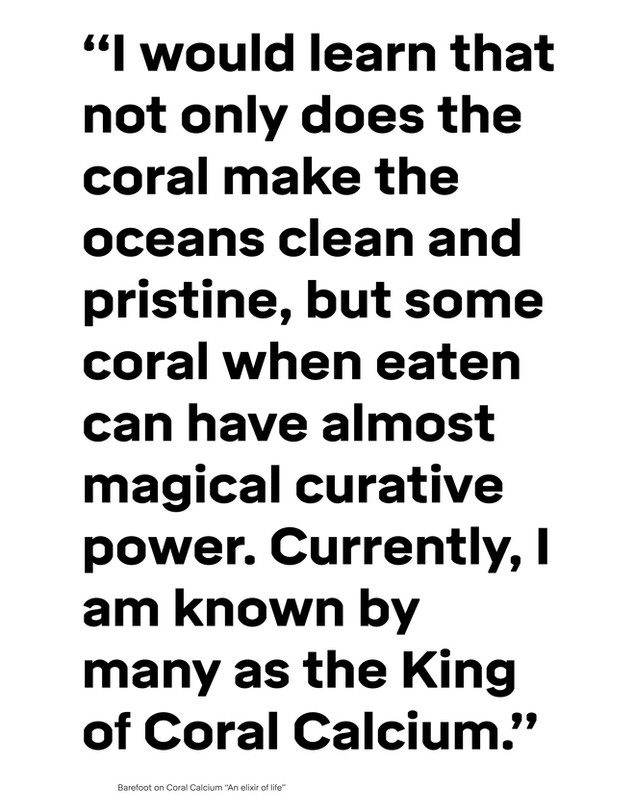 Quotation extract from «Barefoot on Coral Calcium «An elixir of life»», Robert Barefoot.