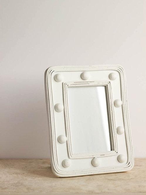 White Rattan Bobble Frame
