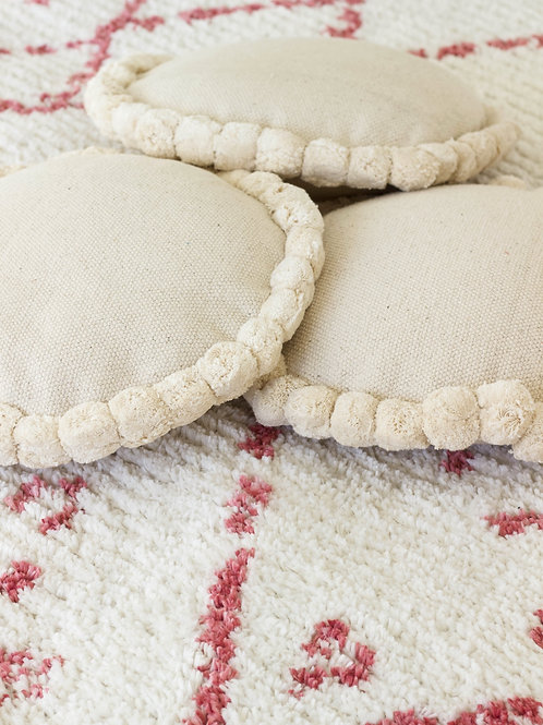 Natural Pom Pom Cushion - Round