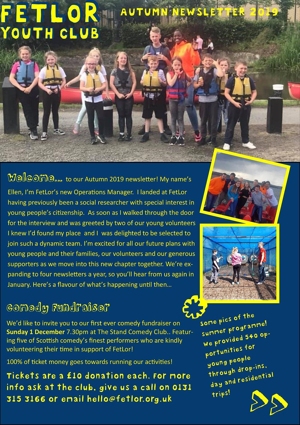 FetLor Youth Club Autumn newsletter 2019