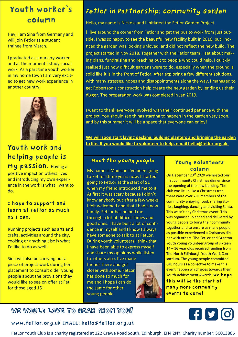 FetLor Youth Club Winter Newsletter 2020