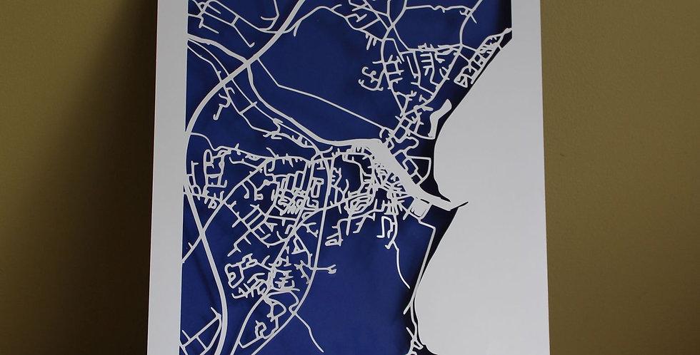 Arklow papercut map