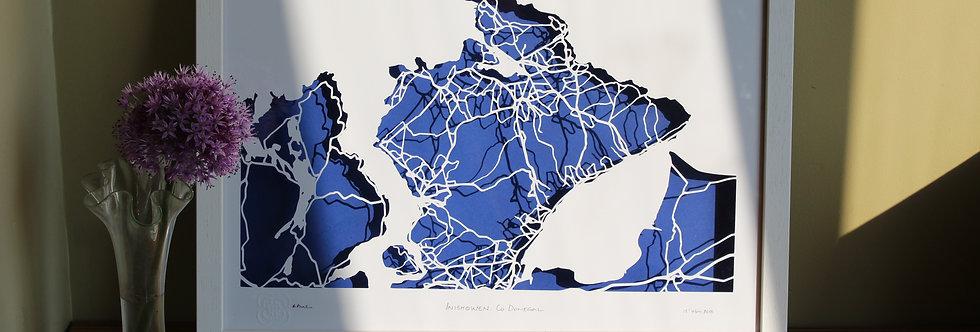 Inishowen, Co Donegal papercut map