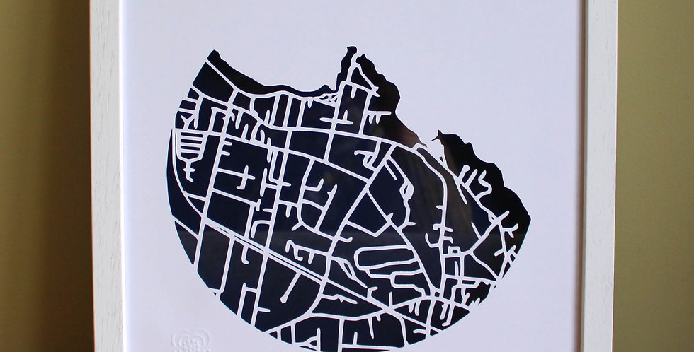 Sandycove papercut map