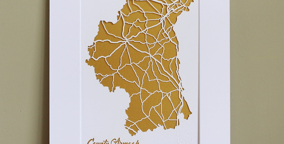 Papercut map of Armagh