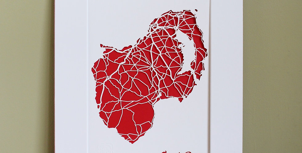 Down papercut map