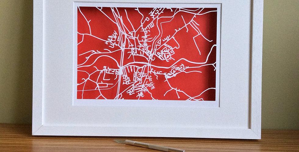 Mallow, Co Cork papercut map