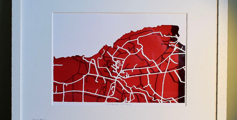 Louisburg, Co Mayo papercut map