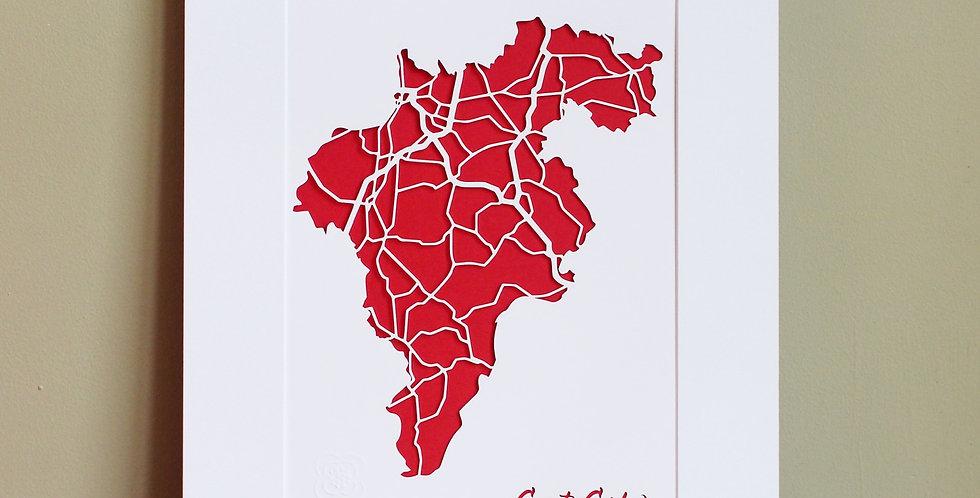 Carlow papercut map
